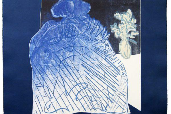"""Menina en arabescos azul"", 2005, 56 x 56 cm."