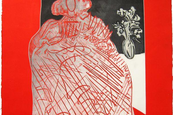 """""""Menina en arabescos roja"""", 2005, 56 x 56 cm. COLECCIÓN PARTICULAR."""