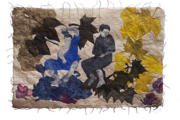 """""""Niños comiendo uvas"""", 2004, 50 x 74 cm."""