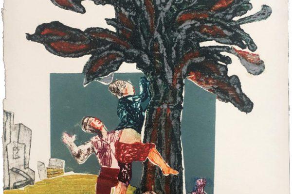 """""""Niños trepando un arbol"""", 1989, 50 x 37,5 cm."""