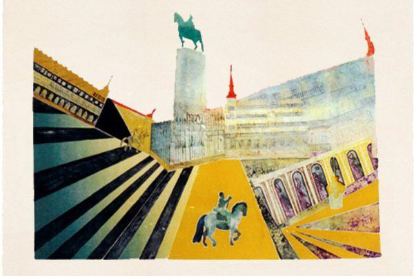 """Plaza Mayor"", 1997, 65 x 101 cm."