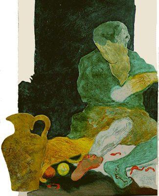 """Niño comiendo langostinos"", 2004, 120 x 91 cm."
