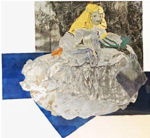 Margarita sobre tapiz azul - 2018